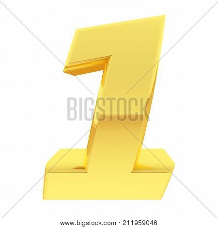Gold Number 1 With Gradient Reflections Isolated On White