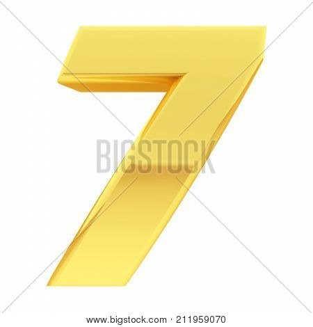 Gold Number 7 With Gradient Reflections Isolated On White