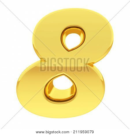 Gold Number 8 With Gradient Reflections Isolated On White