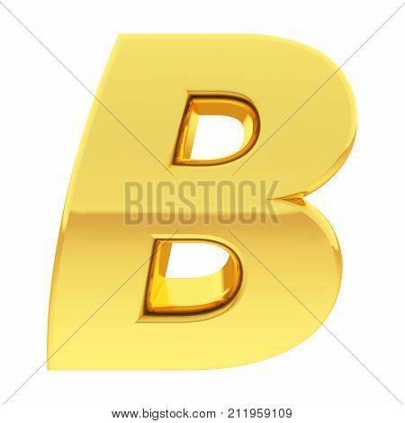 Gold Alphabet Symbol Letter B With Gradient Reflections Isolated On White