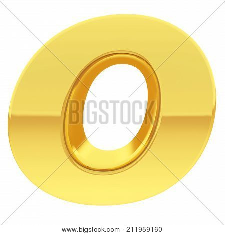 Gold Alphabet Symbol Letter O With Gradient Reflections Isolated On White