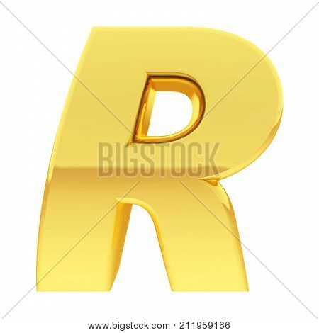 Gold Alphabet Symbol Letter R With Gradient Reflections Isolated On White