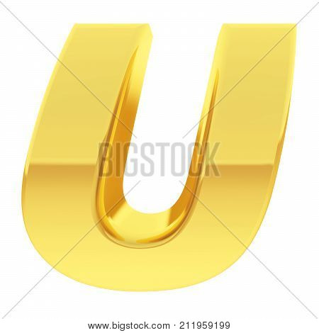 Gold Alphabet Symbol Letter U With Gradient Reflections Isolated On White