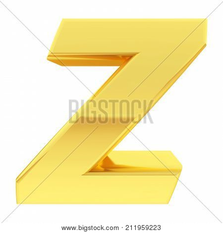 Gold Alphabet Symbol Letter Z With Gradient Reflections Isolated On White