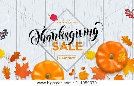 Thanksgiving Sale Poster Autumn Pumpkin Promo Discount Web Banner Vector Leaf Background