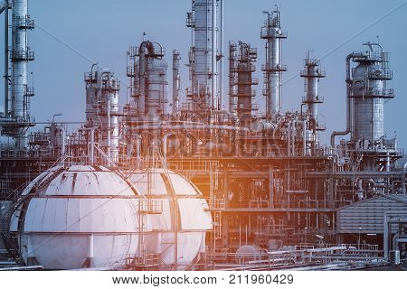 Petrochemical plant Factory in petrochemical industry Gas and oil refinery plant Gas storage spheres tank