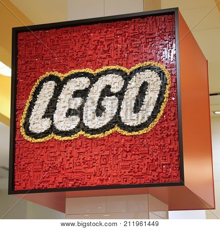 NEW YORK CITY - JULY 11, 2017: Lego sculpture in Lego store in Manhattan. Lego is a popular line of construction toys popular with kids and collectors worldwide