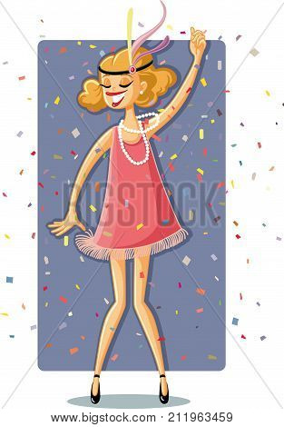 Flapper Party Girl from the Roaring 20s Retro Illustration poster