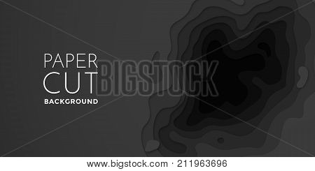 Papercut Banner Of Gradient Black Paper Layers 3D Vector Pattern Background