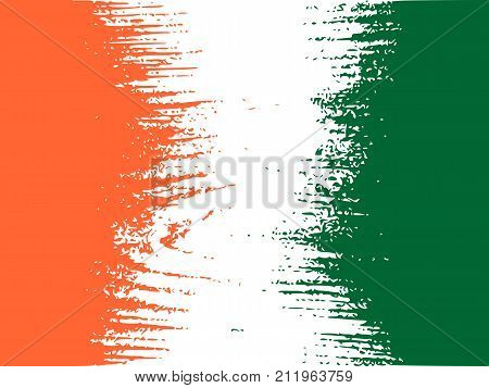 Ivory Coast flag design concept. Flag textured by grungy wood pattern. Image relative to travel and politic themes