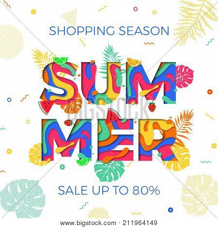 Summer Sale Shopping Discount Shopping Vector Palm Leaf Papercut Text Poster
