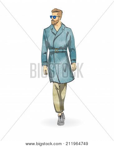 Sketch Of A Fashionable Man In A Raincoat, Jeans And Shoes. Collection Autumn-winter Of 2018.
