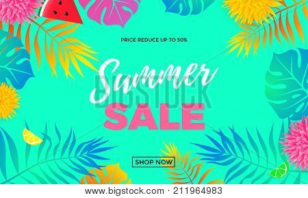 Summer Sale Price Reduce Shopping Vector Palm Leaf Banner