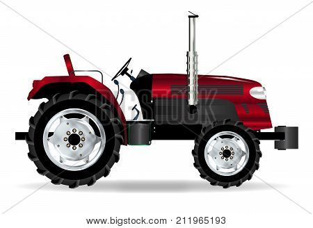 A typical modern farmyard tractor in red over a white background
