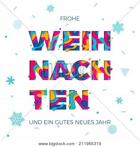 Frohe Weihnachten Merry Christmas German Greeting Card Vector Snowflake Paper Carving Background