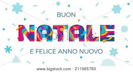 Buon Natale Merry Christmas Italian Greeting Card Background Vector Papercut Color Carving