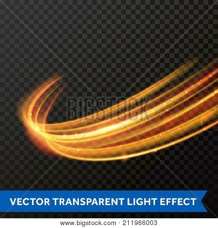 Vector Light Effect Of Line Gold Swirl. Glowing Light Fire Flare Trace