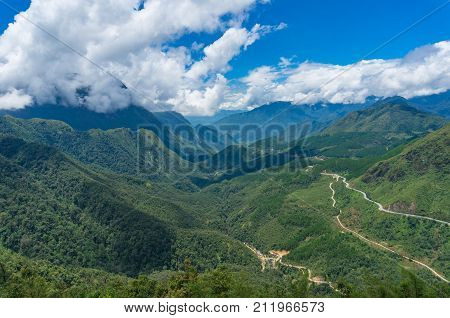 Heaven Gate mountain valley landscape. Vietnam. Nature background