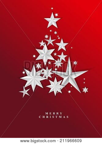 Christmas Red Starry Background. Vector Illustration. Christmas Tree.
