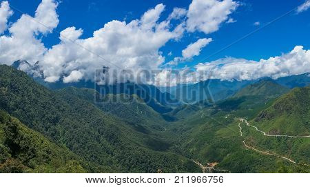 Panorama Landscape Of Mountain Valley
