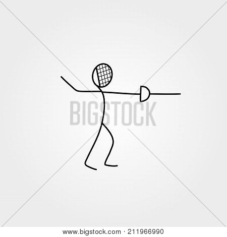 Cartoon icon sport stick figure swordsman vector