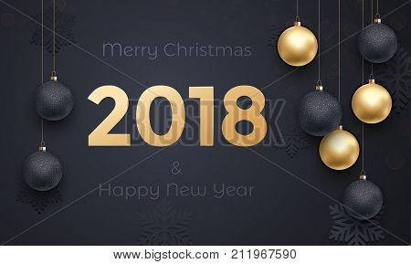 2018 Golden Decoration Banner Greeting Card New Year Black Premium Background