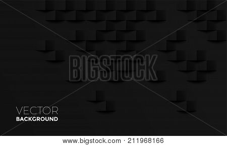 Abstract Black Background With Brick Shadow Vector Texture Backdrop Interior Design