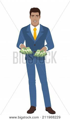 Businessman with cash money. Full length portrait of Black Business Man in a flat style. Vector illustration.