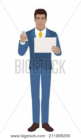 Businessman with mobile and paper. Full length portrait of Black Business Man in a flat style. Vector illustration.