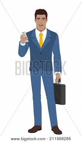 Businessman with mobile phone and briefcase. Full length portrait of Black Business Man in a flat style. Vector illustration.