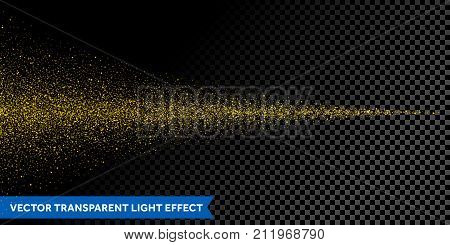 Light Particles Dispersion Of Gold Glitter Spray On Vector Transparent Background