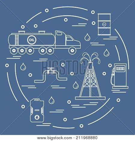 Cute Vector Illustration Of  Oil Tanker, Equipment For Oil Production, Canister Of Gasoline, Barrels