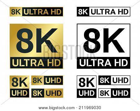 8k Ultra Hd icon. Vector 8K UHD TV symbol of High Definition monitor display resolution standard.
