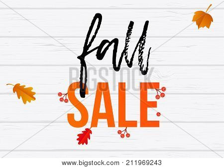 Autumn Fall Sale Shopping Discount Vector Poster Maple Leaf Web Banner
