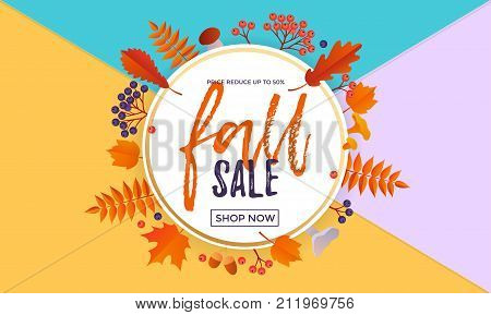 Autumn Fall Sale Maple Leaf Poster Autumnal Shopping Promo Discount Banner Online Store