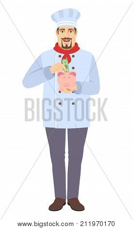 Chef puts banknote in a piggy bank. Full length portrait of Chef in a flat style. Vector illustration