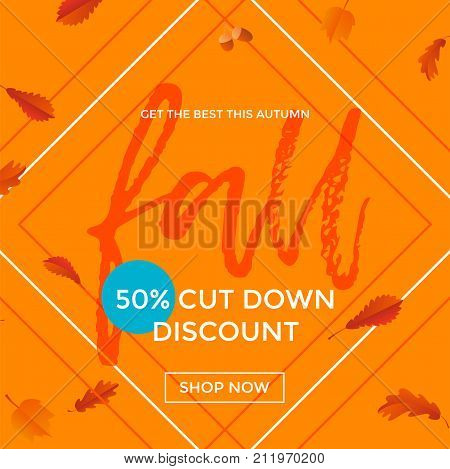 Autumn Fall Sale Poster Discount For September Shopping Promo Vector Autumnal Shop
