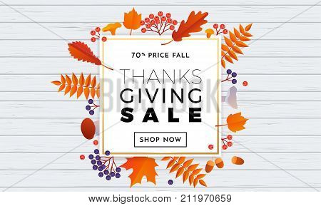 Thanksgiving Autumn Sale Text Poster For September Shopping Promo Autumnal Shop Discount