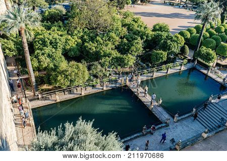 Cordoba, Spain - April 11, 2017: Castle of the Christian Kings, Alcazar de los Reyes Cristianos, it is a medieval fortress located in the historic centre of Cordoba, next to the Guadalquivir River .