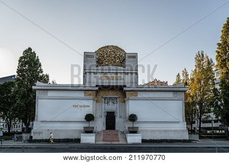 Vienna, Austria - August 15, 2017: The Secession Building in Vienna. It is an exhibition hall built in 1897 by Joseph Maria Olbrich as an architectural manifesto for the Vienna Secession
