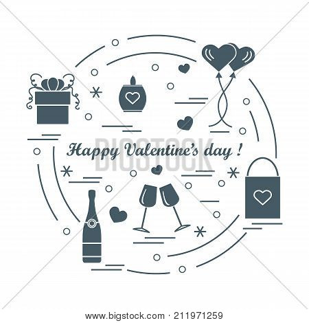 Cute Vector Illustration: Gifts, Balloons, Stemware, Candle, Bag, Bottle With Hearts And Snowflakes