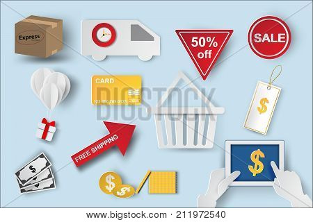 Paper art of icons of e-commerce symbols internet shopping elements and objects in isolate blue color background