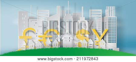 Paper art of cityscape and lanscape with business finance concept white vector illustration