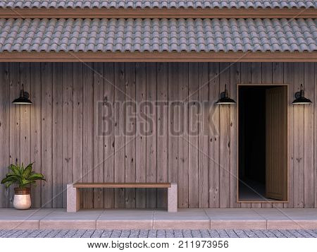 The front of the old house wall is made of plank 3d rendering image.The old wooden house is located along the road. There is a wooden bench in front. Decorated with loft style lamps.