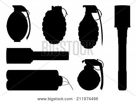 Set of hand grenade silhouettes fro design and graphical layouts