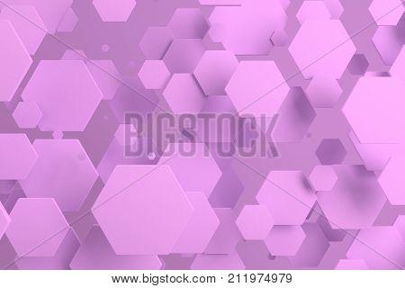 Violet Hexagons Of Random Size On Violet Background