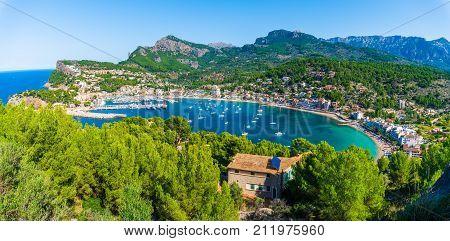Panoramic view of Porte de Soller Palma Mallorca Spain