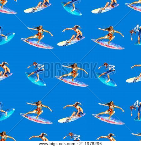 Watercolor seamless pattern with surfers on blue background bright hand-drawn summer background.