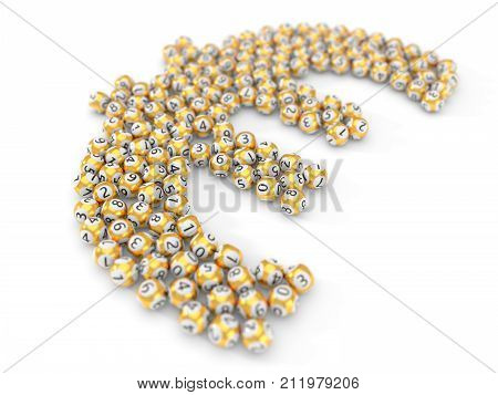 golden lottery balls stack in euro sign shape. with dept of field effect. 3d illustration. suitable for luck, succes and lottery game themes.