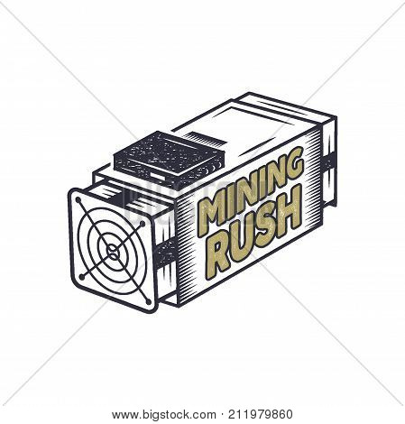 Crypto mining rush concept. Crypto-currency asic equipment logo. Vintage han drawn monochrome design. Technology patch. Stock vector illustration isolated on white background.